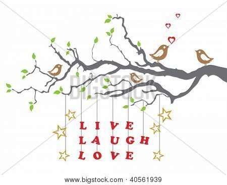 Love birds on a tree branch with live laugh love
