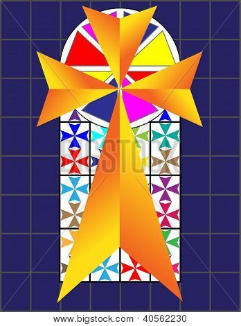 Cross On The Colorful Cristal Wall In Temple