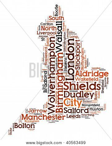 Word Cloud of England Map