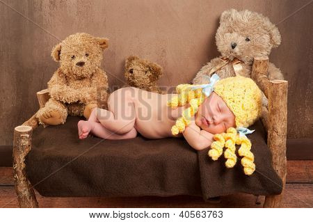 Newborn Baby Girl Wearing a Goldilocks Costume