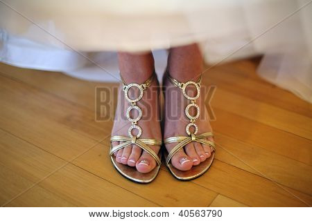 Bride Wearing Fancy Shoes