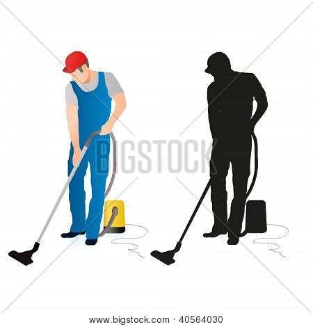 Cleaner With Vacuum Cleaner.eps