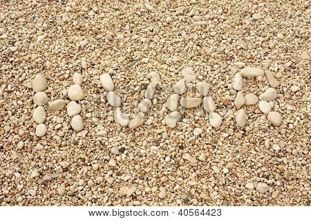 Hvar word made of pebbles, authentic picture of Hvar
