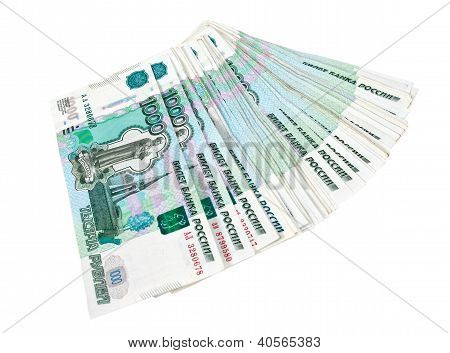 Thousands Of Russian Roubles Isolated On White Background