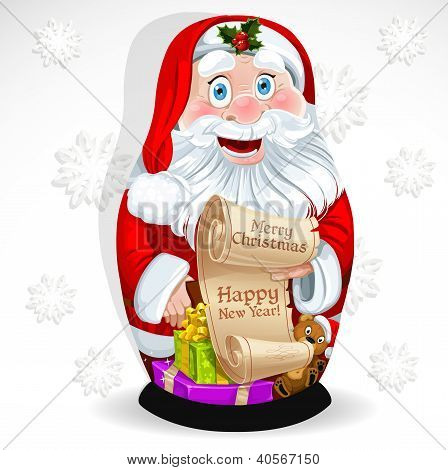Doll Matrioshka Santa Claus with gifts and congratulations with Christmas