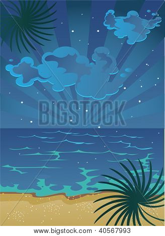 vector picture of cartoon summer nocturnal beach with clouds on sky and stars