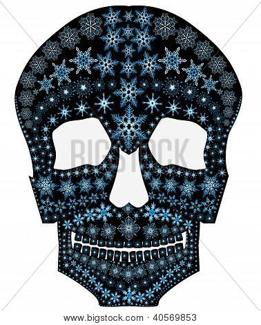 A Silhouette Of A Skull With Snowflakes