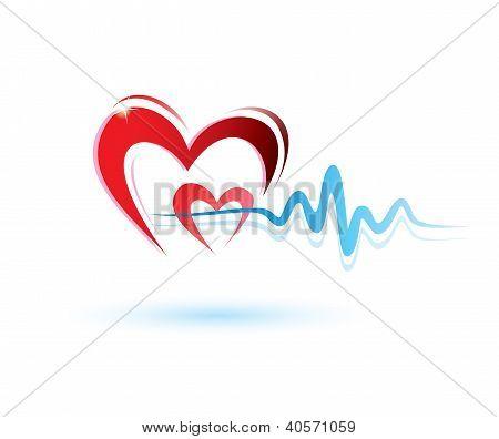 Heart With Ekg Icon, Medicine Concept
