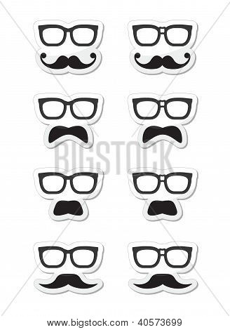 Geek glasses and moustache or mustache vector labels