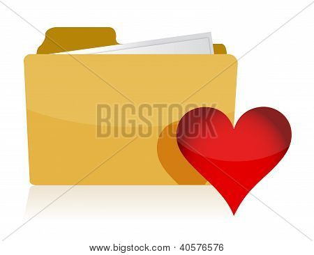 Yellow Folder With Red Heart