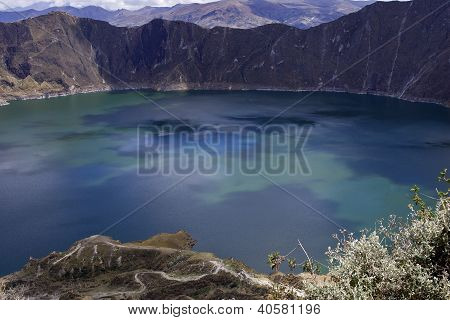 Blue Green Lake In Quilotoa Volcano