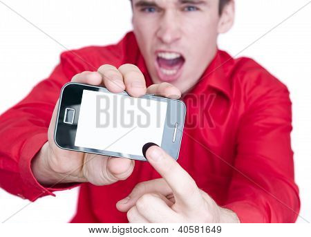 man showing smart phone