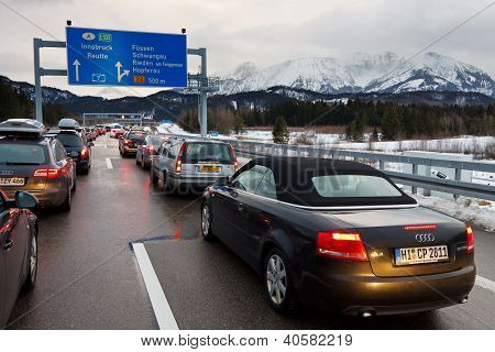 Traffic Jam On The A7 Autobahn In Germany