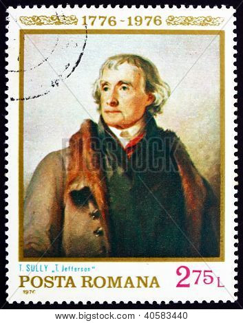 Postage stamp Romania 1976 Thomas Jefferson, Portrait