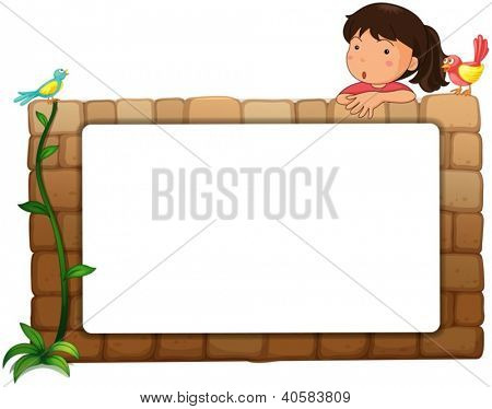 Illustration of a white board, a girl and birds on a white background