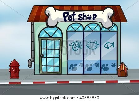 Illustration of a pet shop near a street