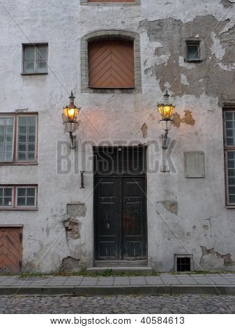 front door of medieval building