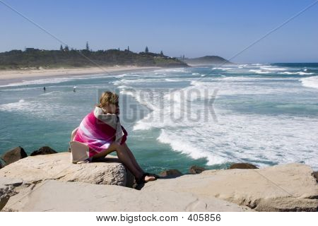 Girl Watching Surfers