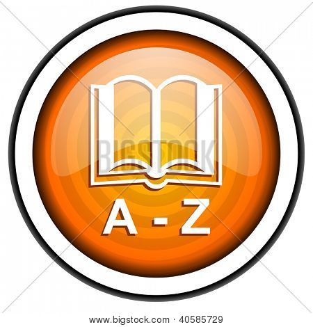 dictionary orange glossy icon isolated on white background