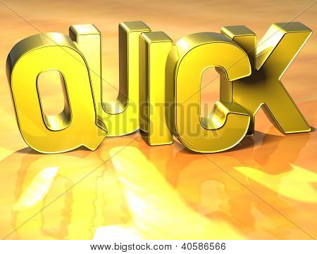 3D Word Quick On Yellow Background