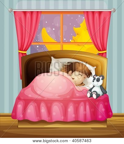 Illustration of a sleeping girl in a room