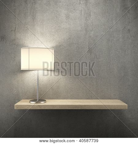 Bookshelf on the wall with lamp
