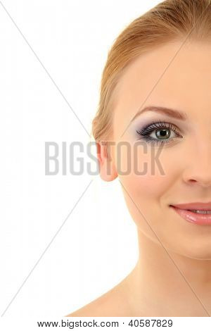 beautiful young woman with bright winter make-up