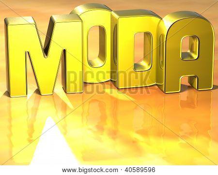 3D Word Moda On Yellow Background
