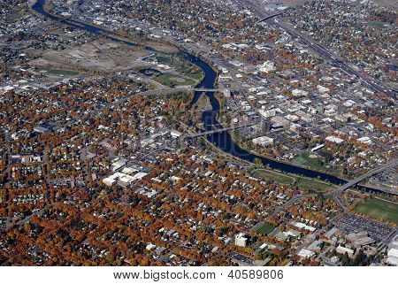 aerial view of downtown Missoula