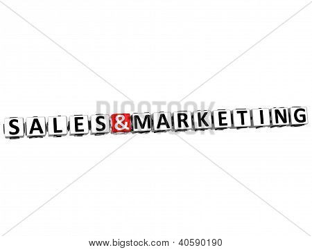 3D Sales And Marketing Button Click Here Block Text
