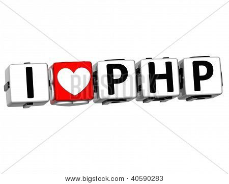 3D I Love Php Button Click Here Block Text