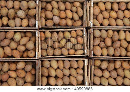 Bins of fresh Sapota fruits in the market