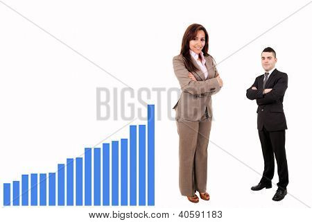 Teamwork standing with graph on white background