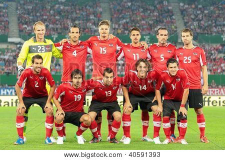 VIENNA,  AUSTRIA - AUGUST 15 The Austrian team during the national anthem before the friendly soccer game on August 15, 2012 in Vienna, Austria.