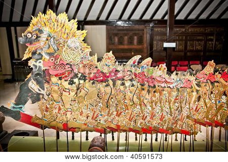 YOGYAKARTA, INDONESIA-JANUARY 4:Puppet of Wayang Kulit on January 4, 2012 in Yogyakarta,Indonesia. Masterpiece of Javanese performance arts presenting the story of Ramayana and Mahabharata.