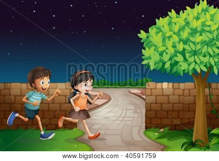 Illustration of kids and a fence in a dark night
