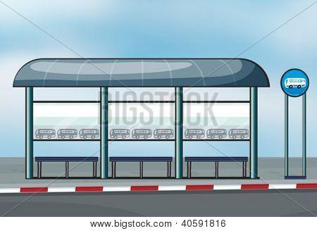 Ilustración de una parada de autobús en una carretera