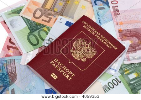 Passport Of Russian Federation On Euros Background