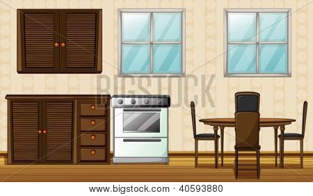 Illustration of wooden furniture and windows in a house