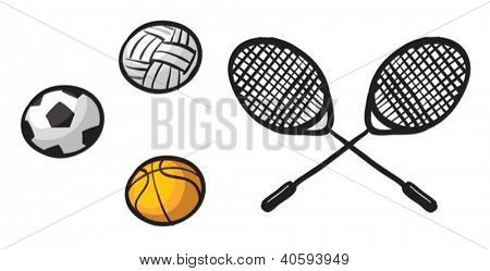 Illustration of various balls and rackets on a white background