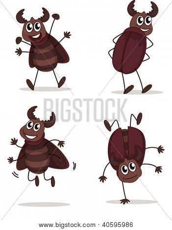 Abbildung ein lächelnder Käfer auf weißem Hintergrund