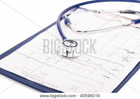 stethoscope on clipboard with ecg