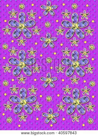 Fabric Flowers Purple Patterned Dots
