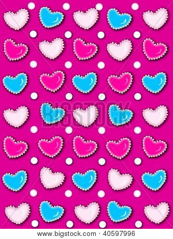 Heart And Pearls Hot Pink