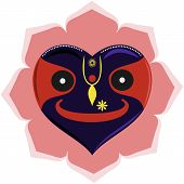 image of bhakti  - Lord Krishna Jagannath in shape of heart - JPG