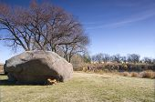 picture of errat  - Three Maidens Rocks or glacial erratics and quarry at entrance of Pipestone National Monument in Pipestone Minnesota - JPG