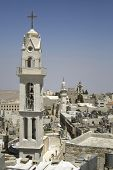 image of crucifiction  - church tower Bethlehem west bank Palestine Israel - JPG