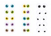 stock photo of googly-eyes  - Set of Vector Googly Cartoon Eyes with Different Colors - JPG