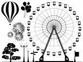 image of amusement  - vector black and white elements of amusement park  - JPG