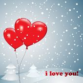Balloons heart with snow